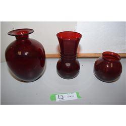 3X The Money Cranberry Vases