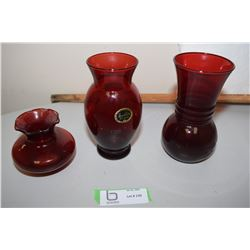 3X The Money Cranberry Vases Anchor Glass