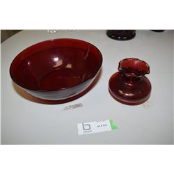Cranberry Glass Vase And Bowl
