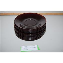 """Cranberry Glass 5.75 And 6"""" Plates"""
