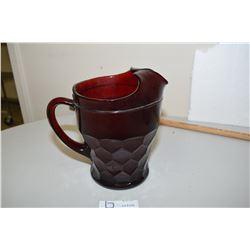 Cranberry Glass Pitcher