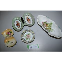 4 Pc Hand Painted Porcelain (1 Chipped) (1 Cracked)