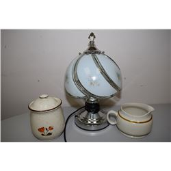 Glass Table Lamp And Pottery