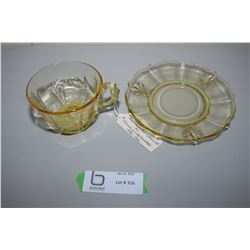Foster Glass Co. Baroque Cup & Saucer
