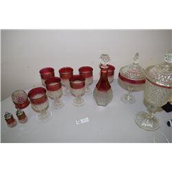 Cranberry Trim Pressed Glass Set