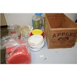 Apple Box Of Plastic-Ware, Glass Pitcher