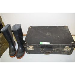Antique Suitcase & Size 5 Rubber Boots