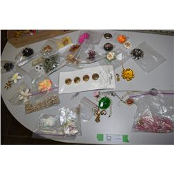 Costume Jewelry (Brooches, Porcelain Flowers, New)