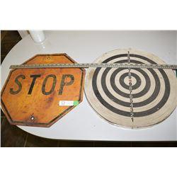 Dart Board & Steel Stop Sign