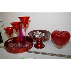 Red Decorative Glass
