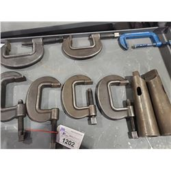 4 ASSORTED SIZE C-CLAMPS