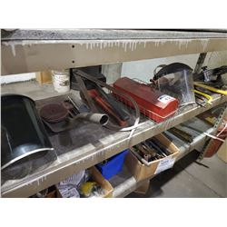 SHELF LOT OF ASSORTED TOOLS, SAFETY SHIELDS, AND MORE
