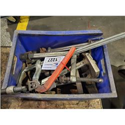 BIN OF ASSORTED CLAMPS, AND MORE