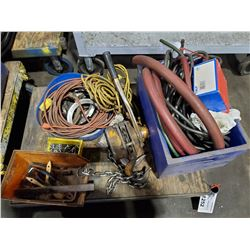 CONTENTS OF CART, CHAIN HOIST, EXTENSION CORDS, ASSORTED HOSES
