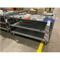 GREY METAL MOBILE 3 TIER 72 L X 33 W X38 H SHOP CART