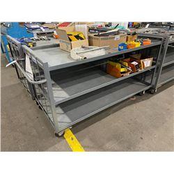 GREY METAL MOBILE 3 TIER 72 L X 33 W X38 H SHOP CART