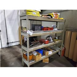 GREY METAL 4 TIER SHELF UNIT (CONTENTS NOT INCLUDED)