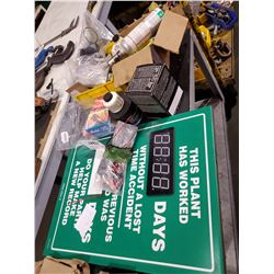 LOT OF ASSORTED SIGNS, MARKERS, AND MORE