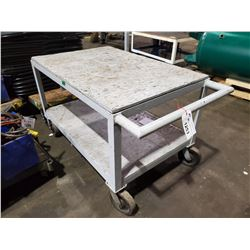 "GREY 2 TIER 48"" X 32"" X  34"" MOBILE CART"