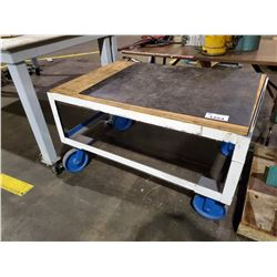 "WHITE 2 TIER 48"" X 32"" X 26"" MOBILE CART"