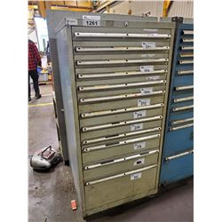 "GREY 12 DRAWER 60""H X 28""W X 28""D MACHINIST CABINET"