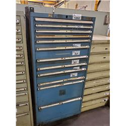 "BLUE 12 DRAWER 60""H X 28""W X 28""D MACHINIST CABINET"
