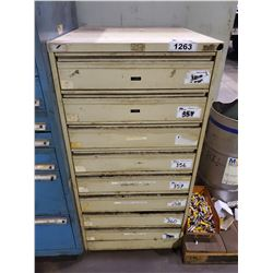 "TAN 8 DRAWER 49""H X 25""W X 28""D MACHINIST CABINET"