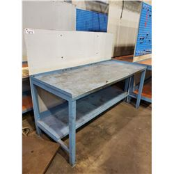 "BLUE 2 TIER 72""L X 30""D X 34""H METAL WORKBENCH, WITH BACKBOARD"