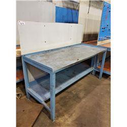 BLUE 2 TIER 72 L X 30 D X 34 H METAL WORKBENCH, WITH BACKBOARD