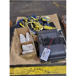 PALLET LOT INCLUDES, SAFETY HARNESSES, ANTIFREEZE AND MORE
