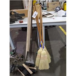 LOT OF ASSORTED BROOMS, AND SHOVEL