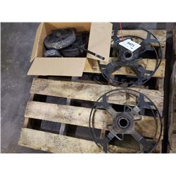 PALLET OF ASSORTED REELS, AND WHEELS