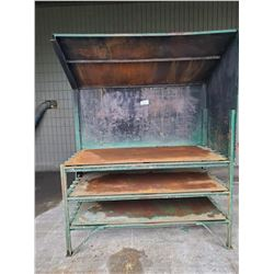 GREEN METAL WORK TABLE  WITH OVERHANG