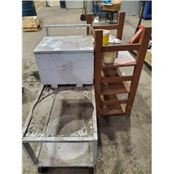 GREY MOBILE UTILITY CART AND 3 TIER WOODEN SHELF
