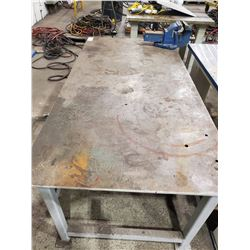 HEAVY DUTY STEEL WORK TABLE WITH RECORD# 6 VISE 72L   36 W X 29 H