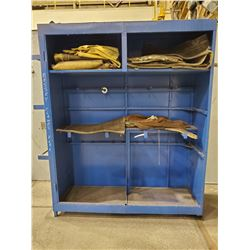 LARGE BLUE METAL CABINET AND CONTENTS
