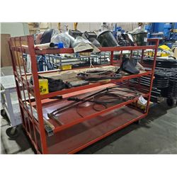"""RED MOBILE 4 TIER CART 72"""" X 36""""W X 57""""H"""