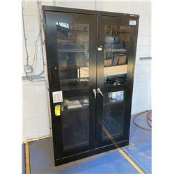 """BLACK METAL & GLASS 2 DOOR CABINET 48""""W X 24""""D X 78""""H"""