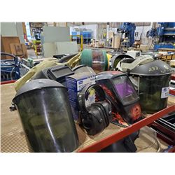 LOT OF ASSORTED WELDING MASKS AND FACE SHIELDS