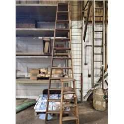 2 ALLRIGHT WOODEN STEP LADDERS, 3' AND 12'