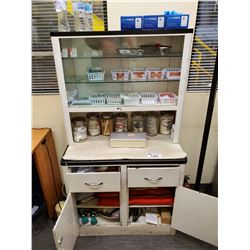 """WHITE MEDICAL CABINET, INCLUDES ALL MEDICAL BANDAGES, TAPE, AND MORE 33""""L X 17""""W X 59""""H"""
