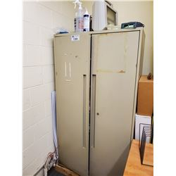 """METAL 2 DOOR CABINET, INCLUDES ALL MEDICAL SUPPLIES ON TOP , AND IN CABINET 36""""L X 18""""W X 65""""H"""