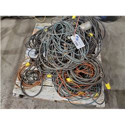 PALLET OF ASSORTED ELECTRICAL CORDS, EXTENSION CORDS, AND MORE