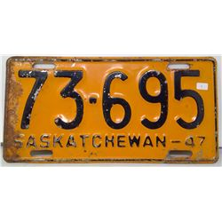 SK Licence Plate 1947
