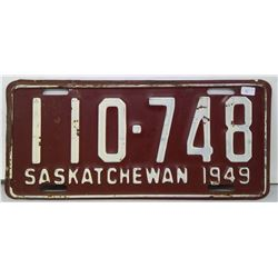 SK Licence Plate 1949