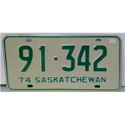 SK Licence Plate 1974