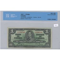 1937 - $1.00 Dollar - AU 50 - CCCS
