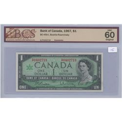 1967 - $1.00 Bill Unc 60 - BCS Graded