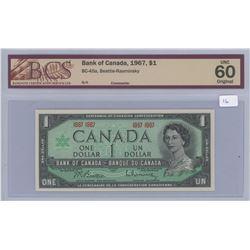 1967 - $1.00 Bill Unc 60 - BCS Graded - 1967-1967 Centennial Yr