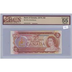 1974 - $2.00 Bill - AU 55 - BCS Graded